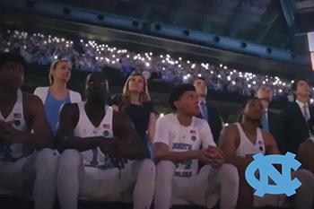 UNC Tar Heel basketball light show by CUE Audio